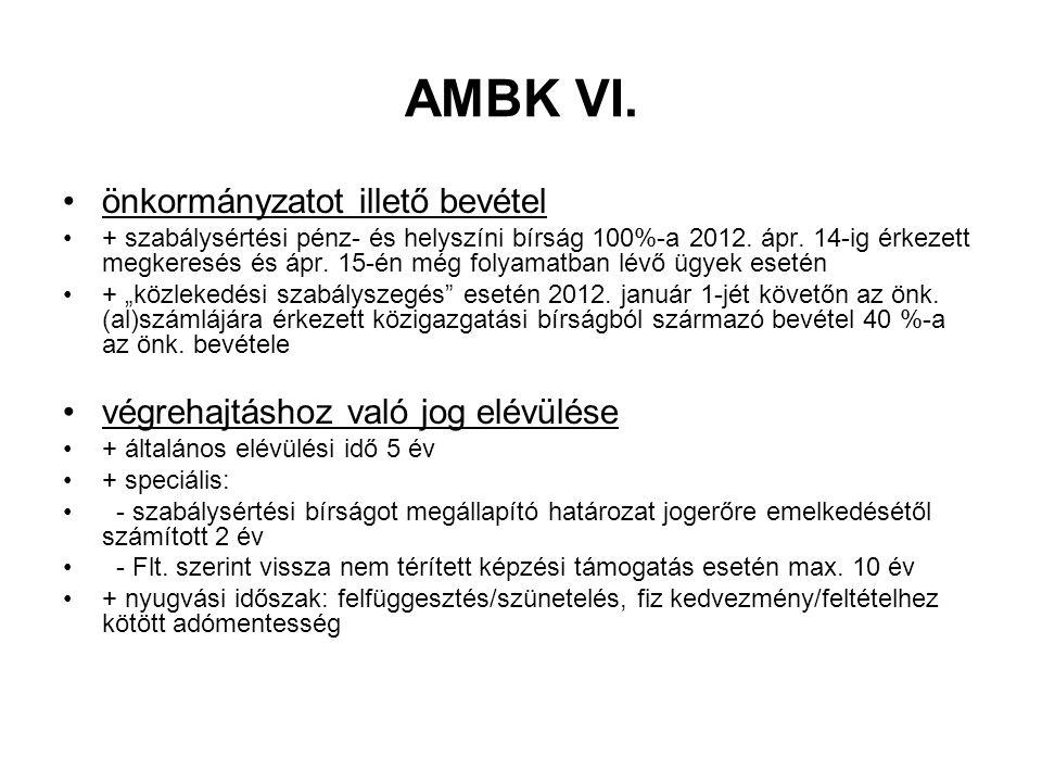 AMBK VI. önkormányzatot illető bevétel