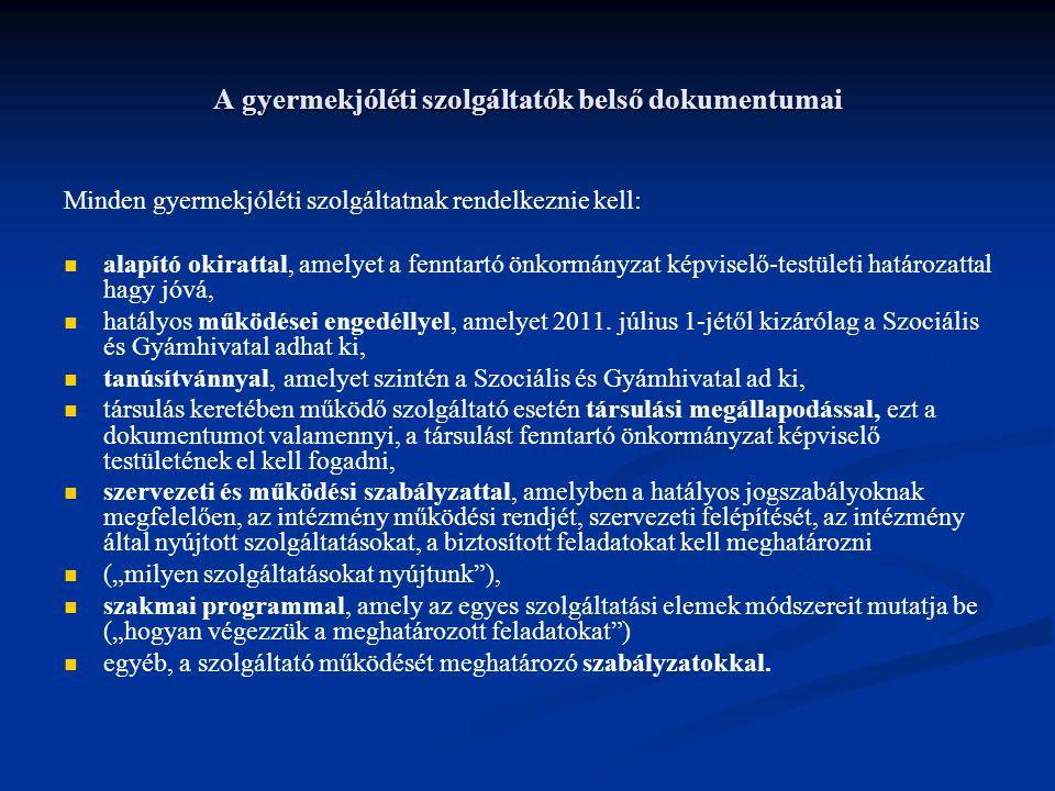 A gyermekjóléti szolgáltatók belső dokumentumai