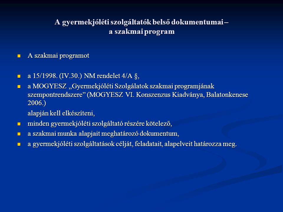A gyermekjóléti szolgáltatók belső dokumentumai – a szakmai program