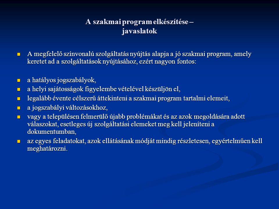 A szakmai program elkészítése – javaslatok