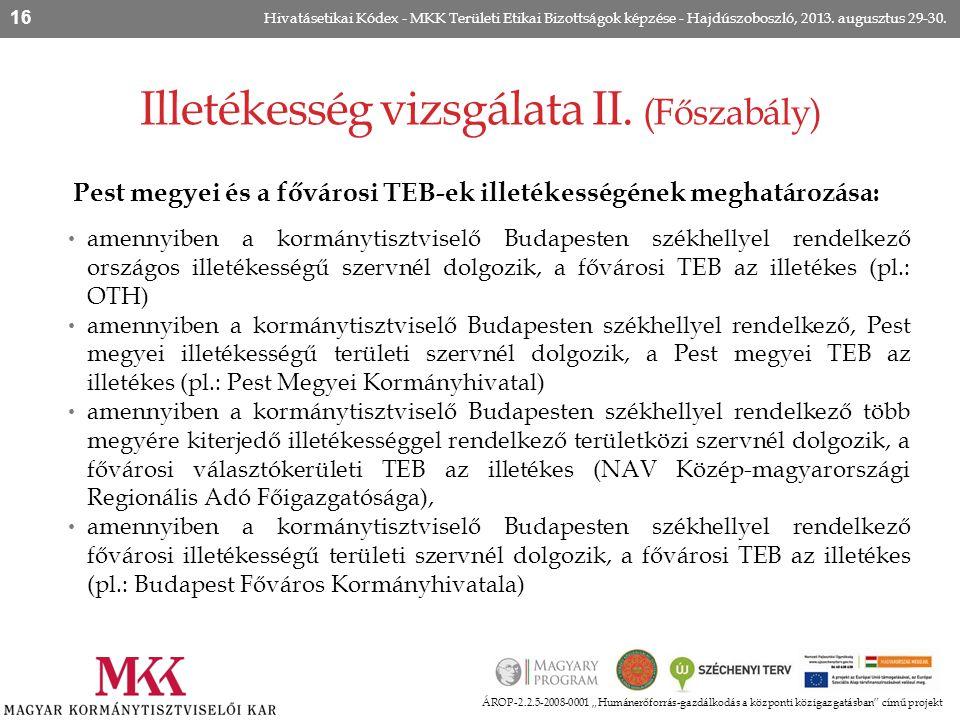 Pest megyei és a fővárosi TEB-ek illetékességének meghatározása: