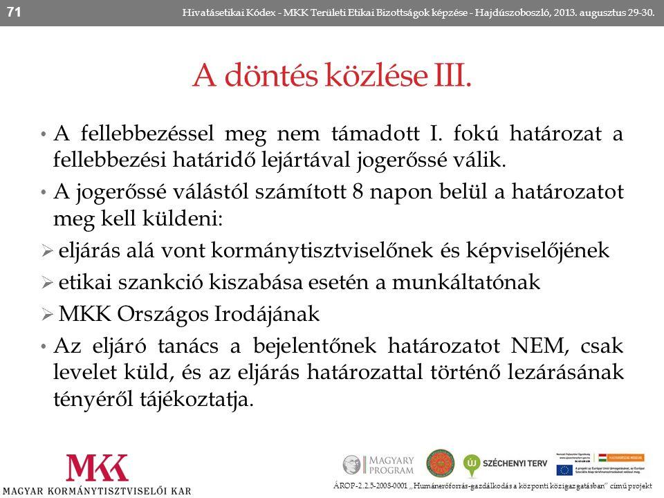 Hivatásetikai Kódex - MKK Területi Etikai Bizottságok képzése - Hajdúszoboszló, 2013. augusztus 29-30.
