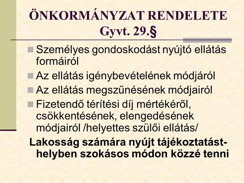 ÖNKORMÁNYZAT RENDELETE Gyvt. 29.§
