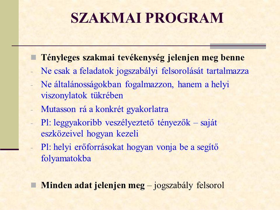 SZAKMAI PROGRAM Tényleges szakmai tevékenység jelenjen meg benne