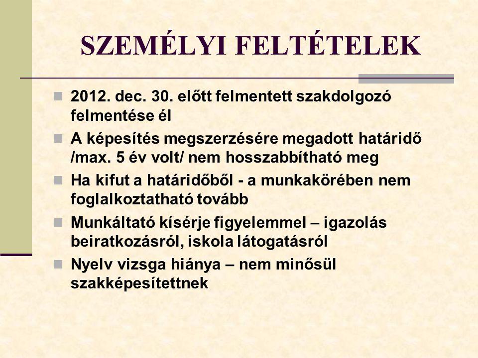 SZEMÉLYI FELTÉTELEK 2012. dec. 30. előtt felmentett szakdolgozó felmentése él.