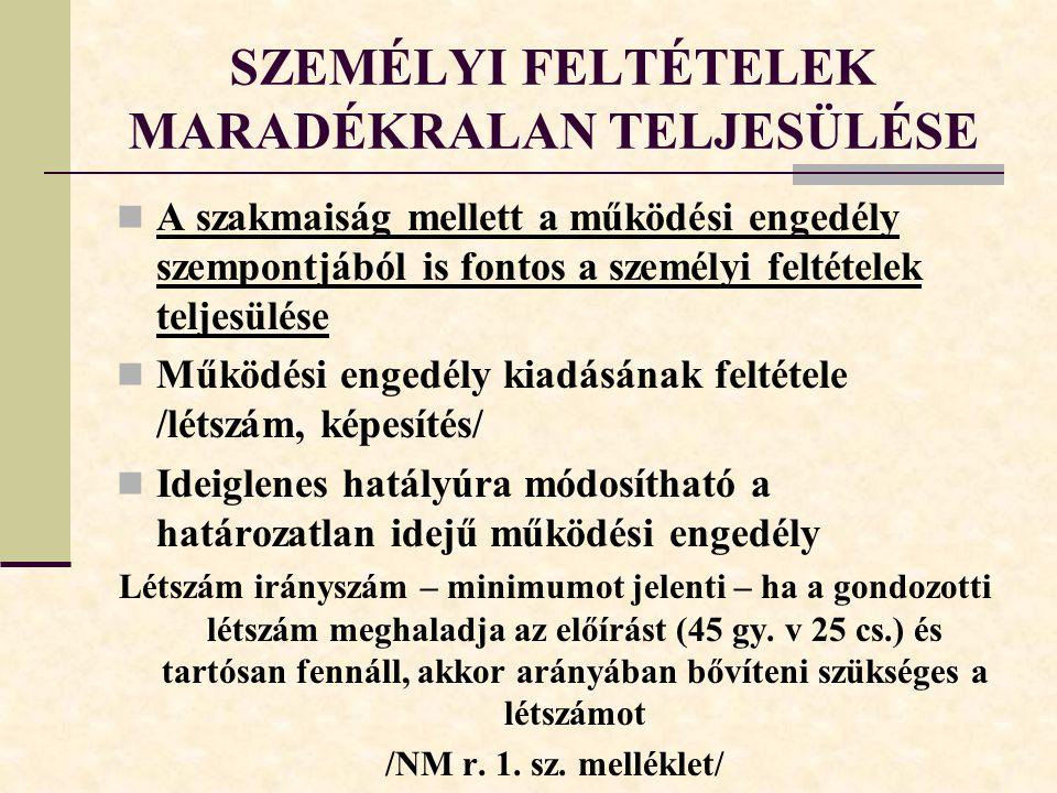 SZEMÉLYI FELTÉTELEK MARADÉKRALAN TELJESÜLÉSE
