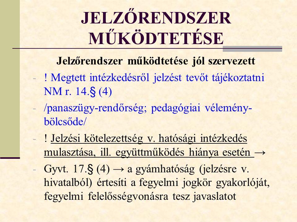 JELZŐRENDSZER MŰKÖDTETÉSE