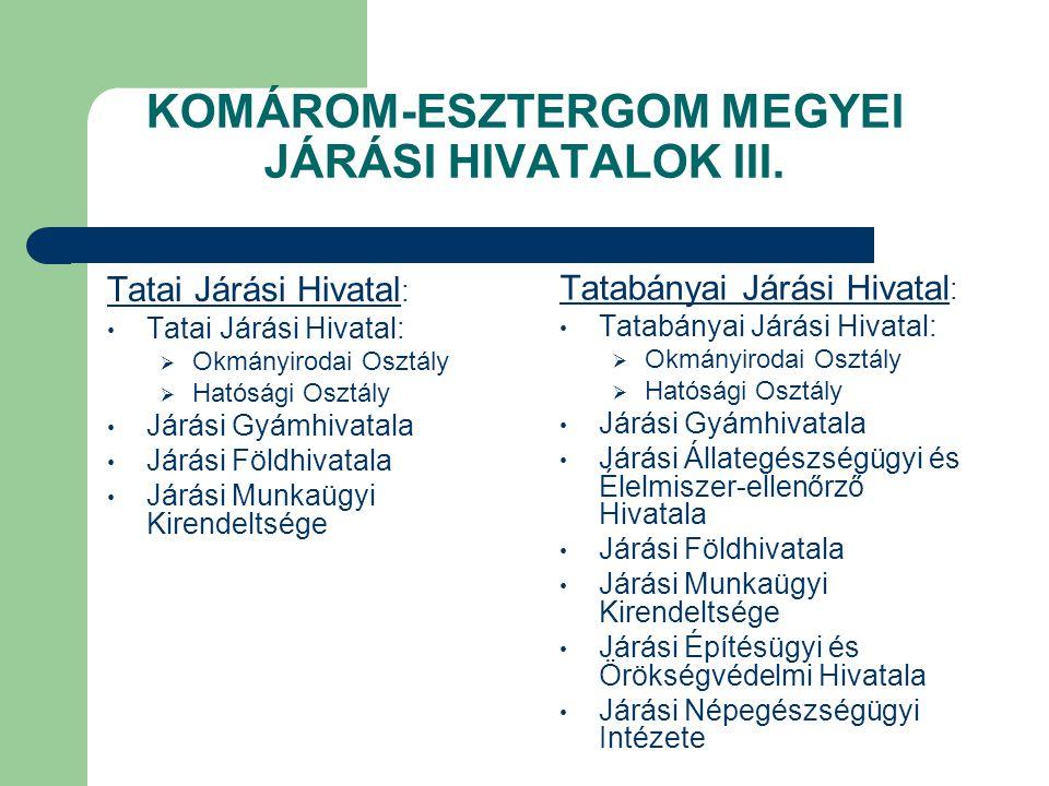 KOMÁROM-ESZTERGOM MEGYEI JÁRÁSI HIVATALOK III.