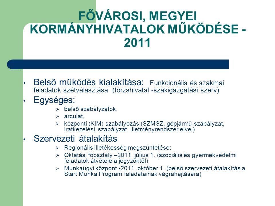 FŐVÁROSI, MEGYEI KORMÁNYHIVATALOK MŰKÖDÉSE - 2011