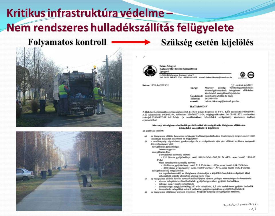 Kritikus infrastruktúra védelme – Nem rendszeres hulladékszállítás felügyelete