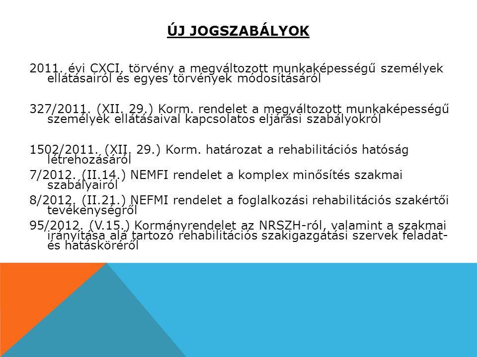 ÚJ JOGSZABÁLYOK 2011. évi CXCI. törvény a megváltozott munkaképességű személyek ellátásairól és egyes törvények módosításáról.