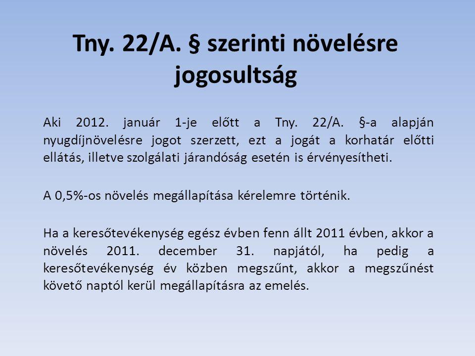 Tny. 22/A. § szerinti növelésre jogosultság