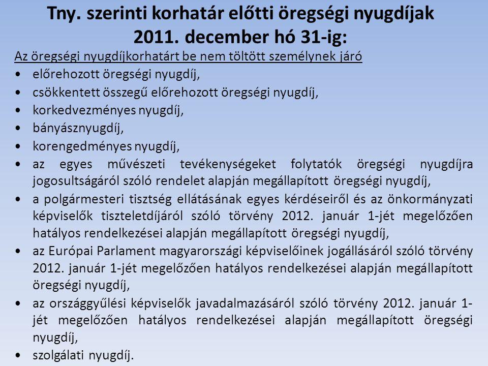 Tny. szerinti korhatár előtti öregségi nyugdíjak 2011