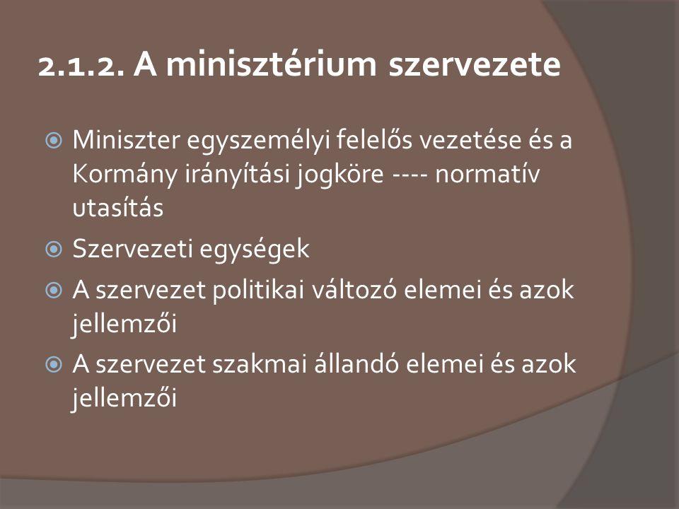 2.1.2. A minisztérium szervezete