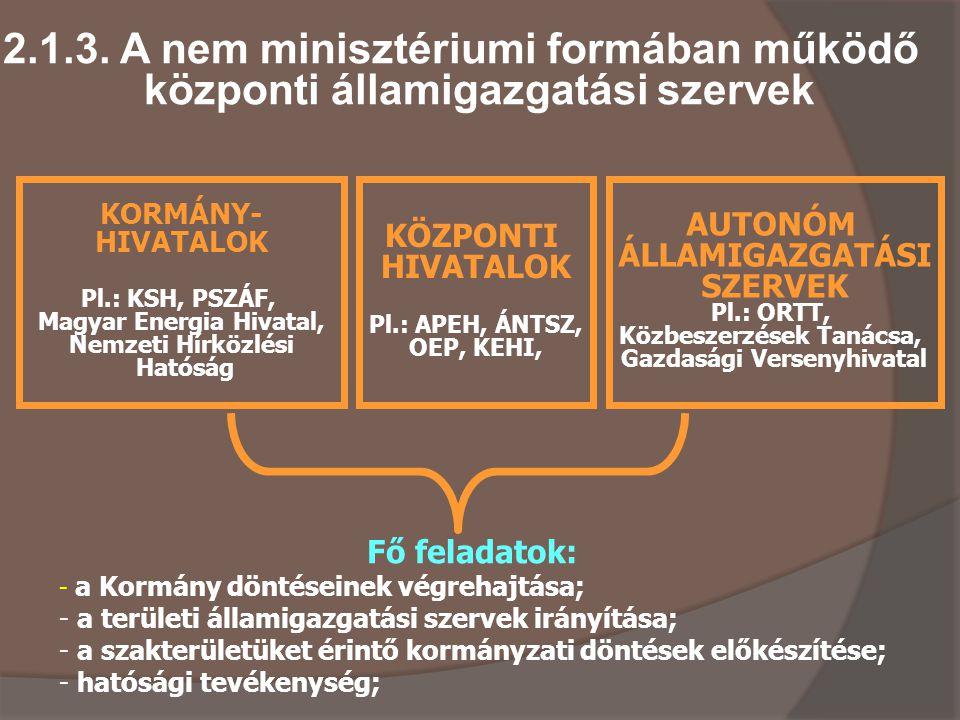 2.1.3. A nem minisztériumi formában működő központi államigazgatási szervek