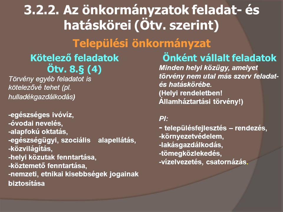 3.2.2. Az önkormányzatok feladat- és hatáskörei (Ötv. szerint)
