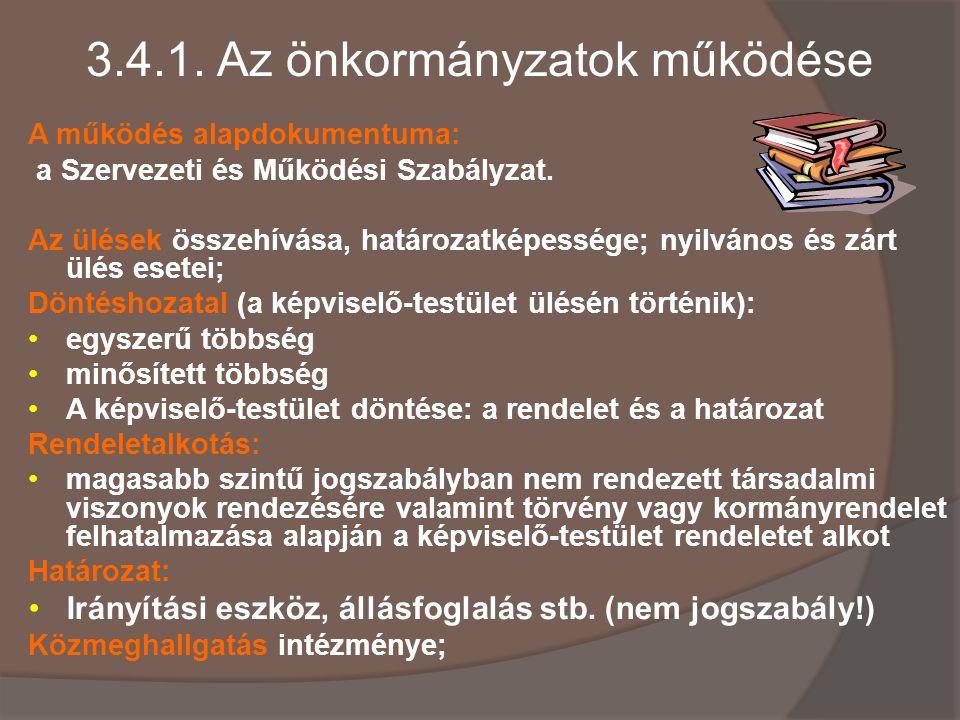 3.4.1. Az önkormányzatok működése