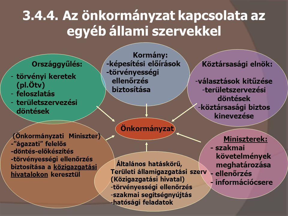 3.4.4. Az önkormányzat kapcsolata az egyéb állami szervekkel