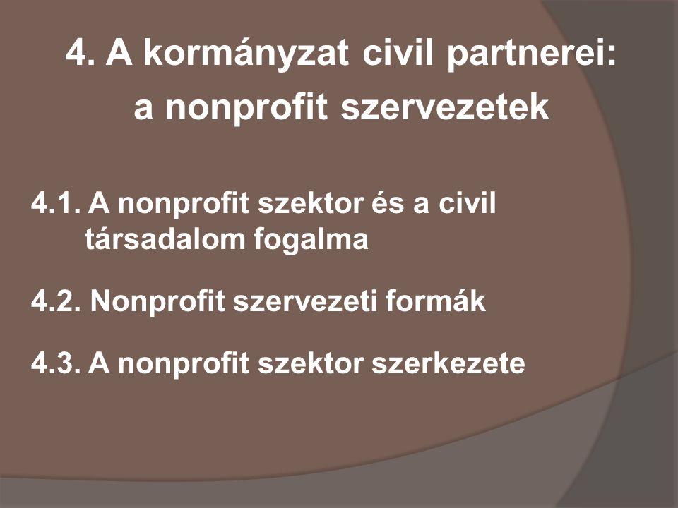 4. A kormányzat civil partnerei: a nonprofit szervezetek