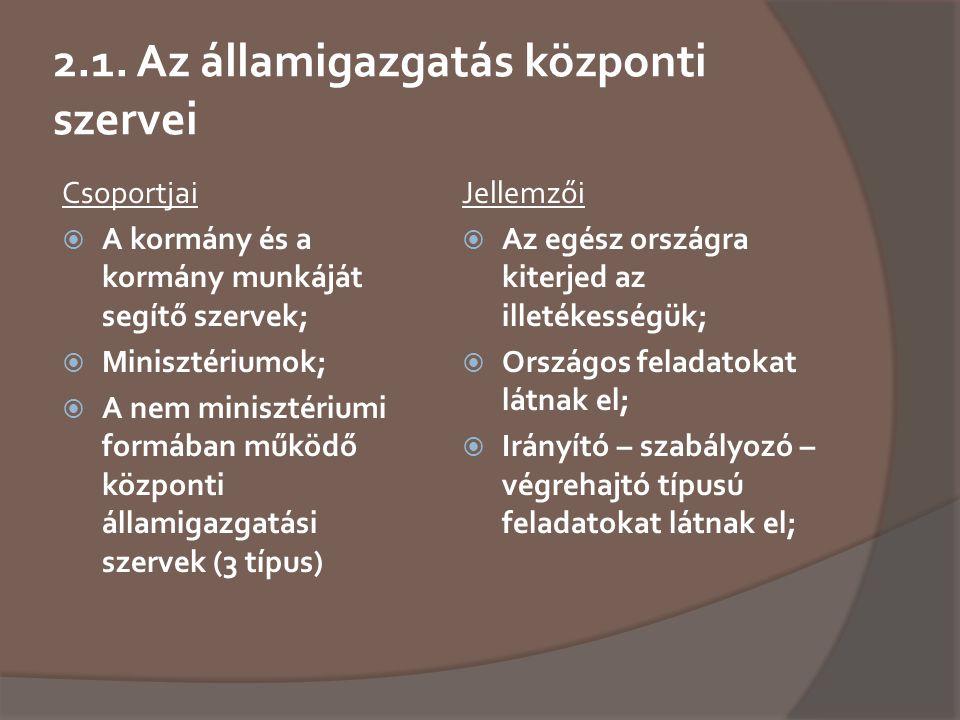 2.1. Az államigazgatás központi szervei