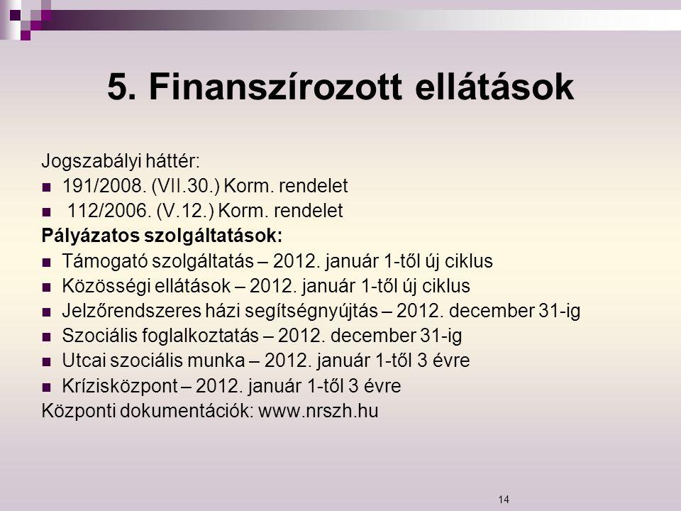 5. Finanszírozott ellátások