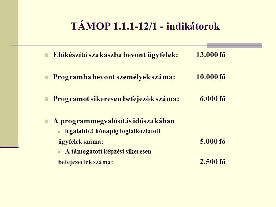 TÁMOP 1.1.1-12/1 - indikátorok Előkészítő szakaszba bevont ügyfelek: 13.000 fő. Programba bevont személyek száma: 10.000 fő.