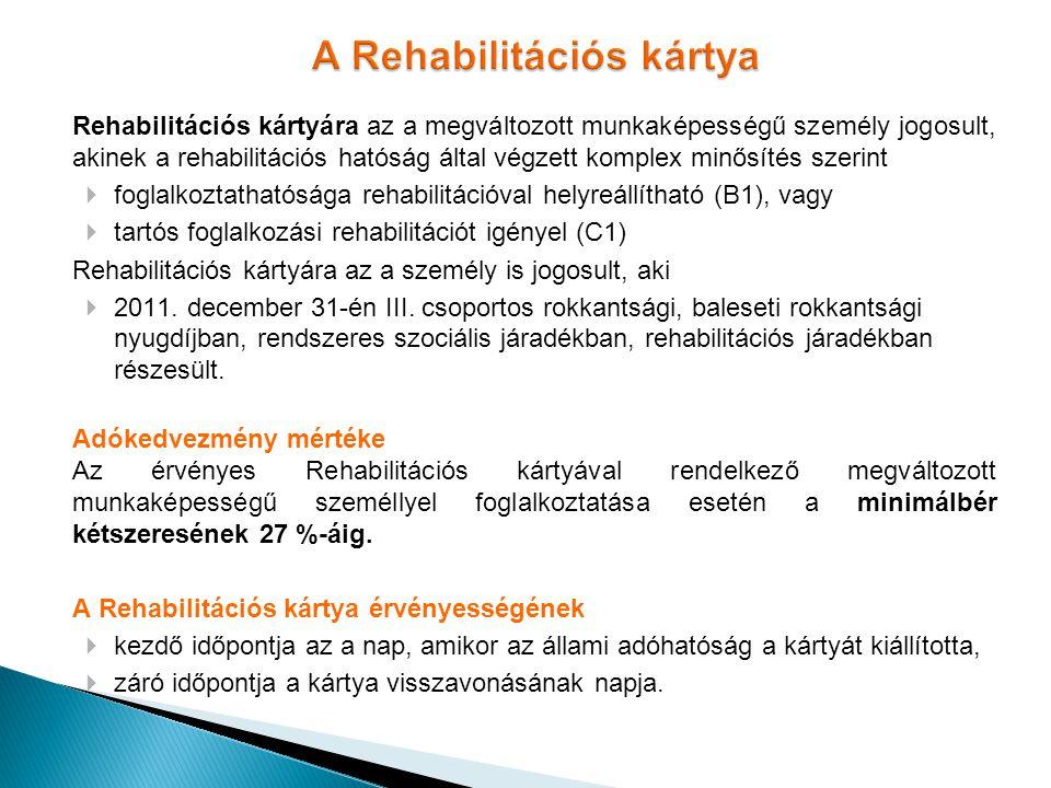 A Rehabilitációs kártya