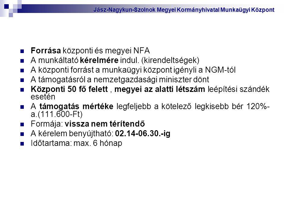Forrása központi és megyei NFA