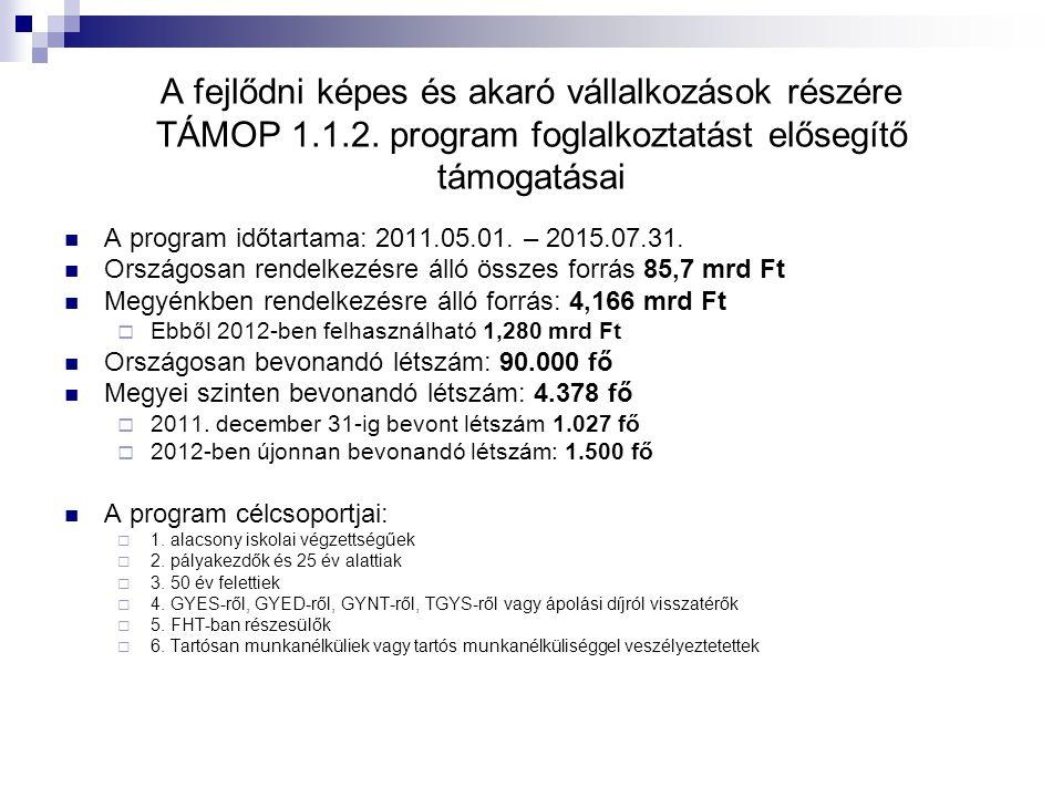 A fejlődni képes és akaró vállalkozások részére TÁMOP 1. 1. 2