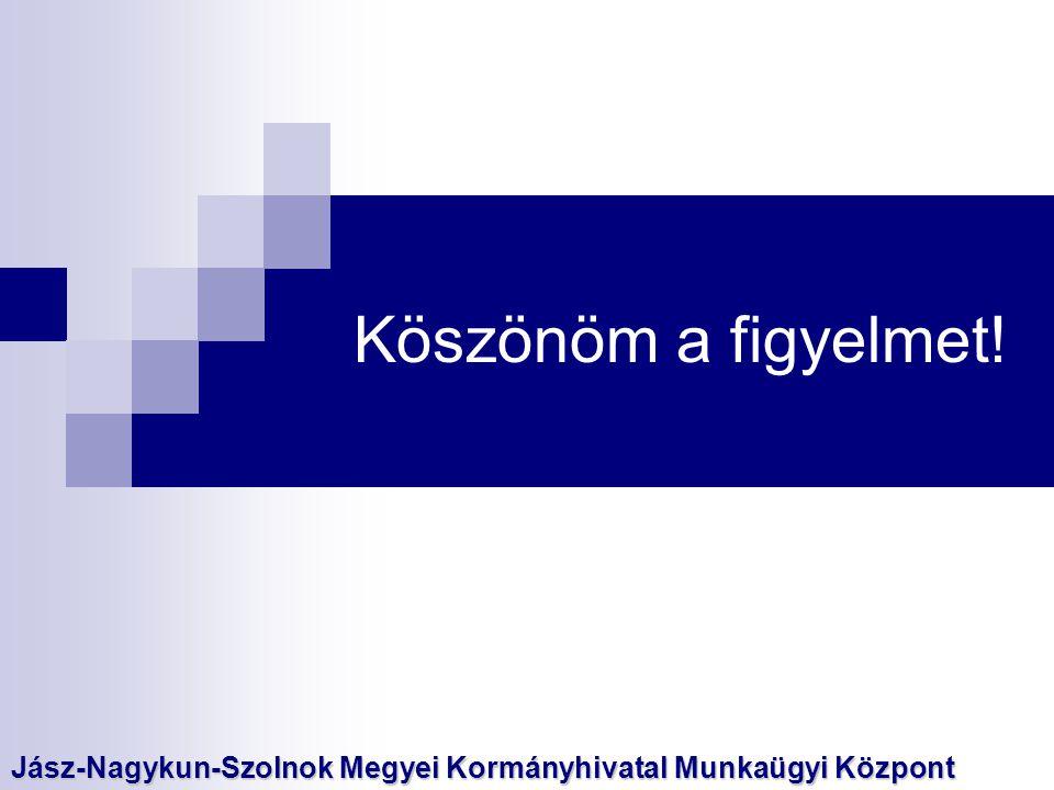 Köszönöm a figyelmet! Jász-Nagykun-Szolnok Megyei Kormányhivatal Munkaügyi Központ