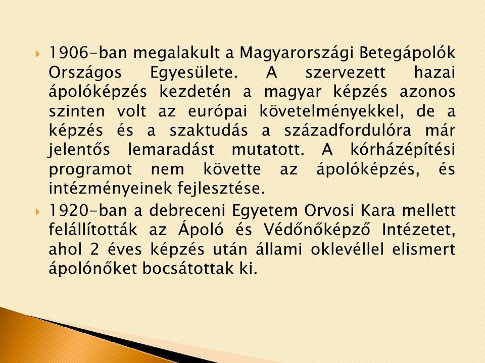1906-ban megalakult a Magyarországi Betegápolók Országos Egyesülete