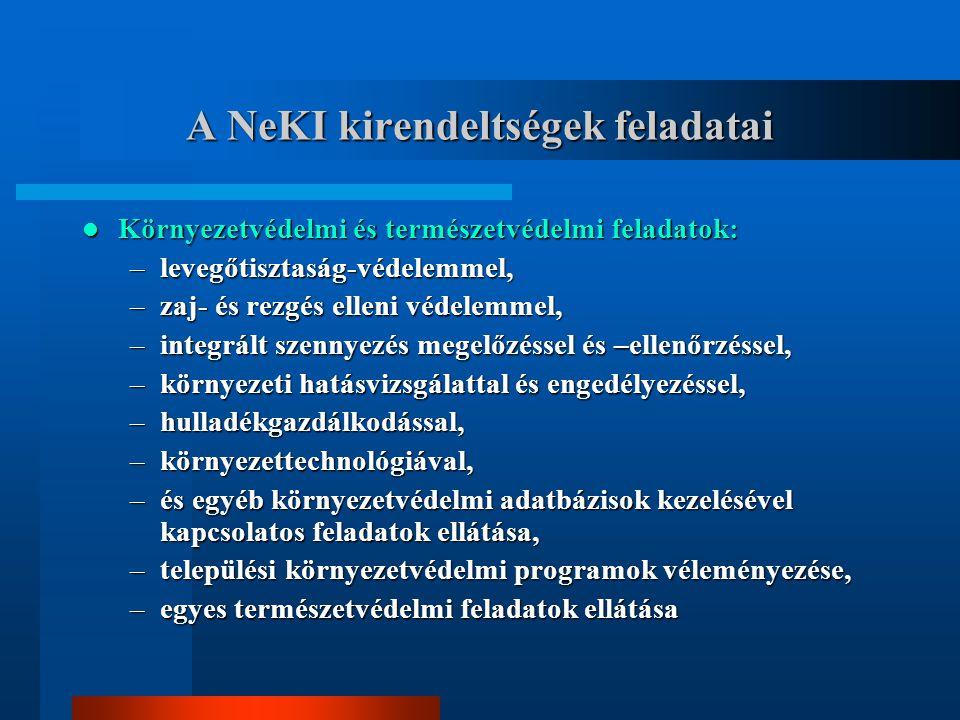 A NeKI kirendeltségek feladatai