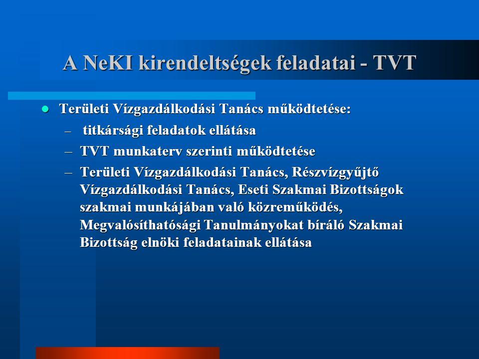 A NeKI kirendeltségek feladatai - TVT