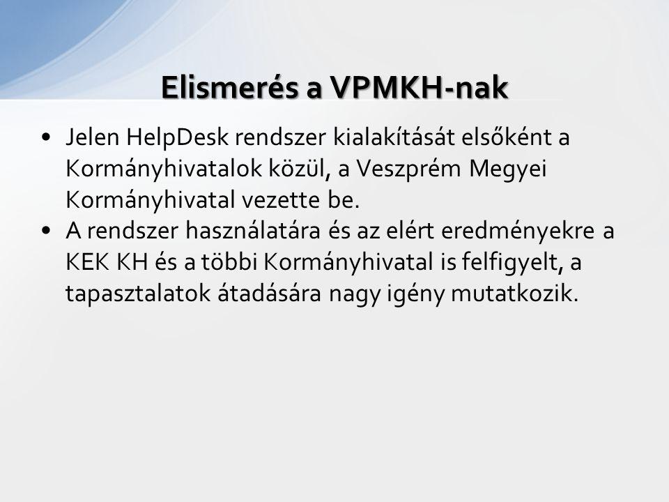 Elismerés a VPMKH-nak Jelen HelpDesk rendszer kialakítását elsőként a Kormányhivatalok közül, a Veszprém Megyei Kormányhivatal vezette be.