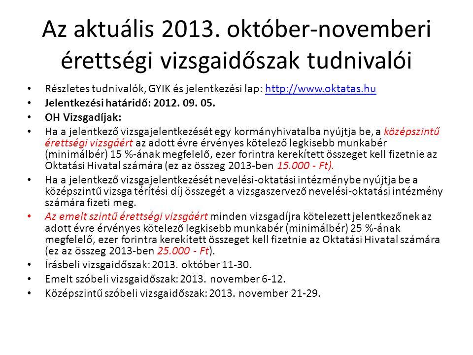 Az aktuális 2013. október-novemberi érettségi vizsgaidőszak tudnivalói