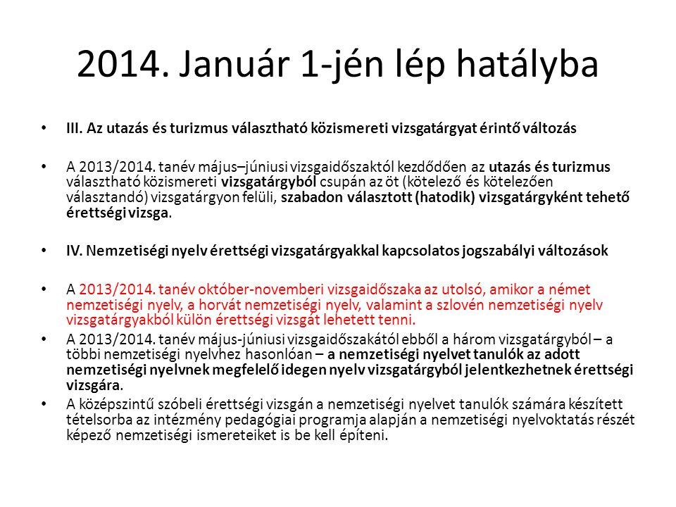 2014. Január 1-jén lép hatályba