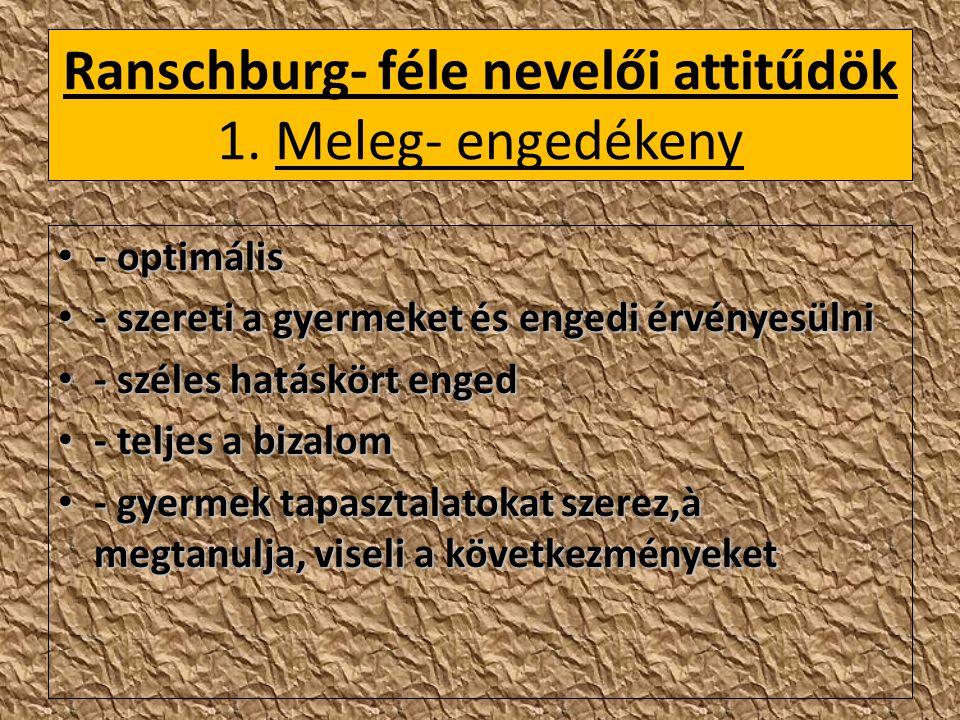Ranschburg- féle nevelői attitűdök 1. Meleg- engedékeny
