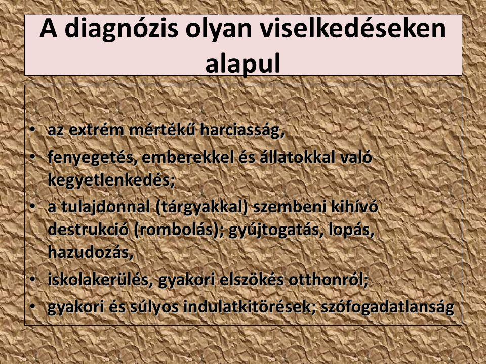 A diagnózis olyan viselkedéseken alapul