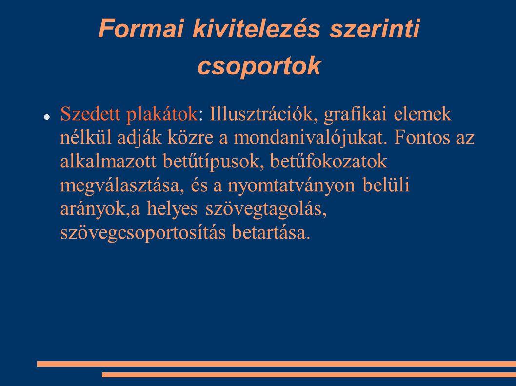 Formai kivitelezés szerinti csoportok
