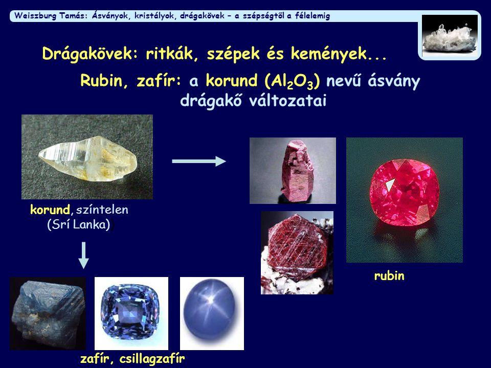Rubin, zafír: a korund (Al2O3) nevű ásvány