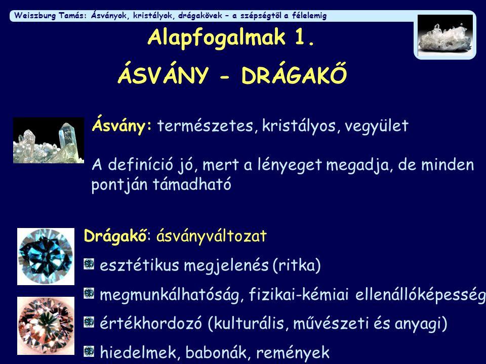 Alapfogalmak 1. ÁSVÁNY - DRÁGAKŐ