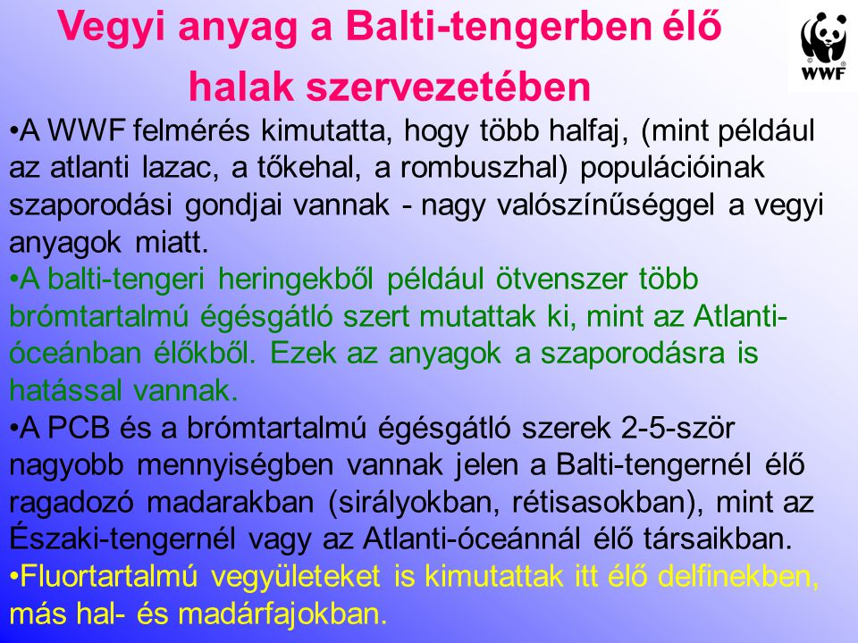 Vegyi anyag a Balti-tengerben élő halak szervezetében