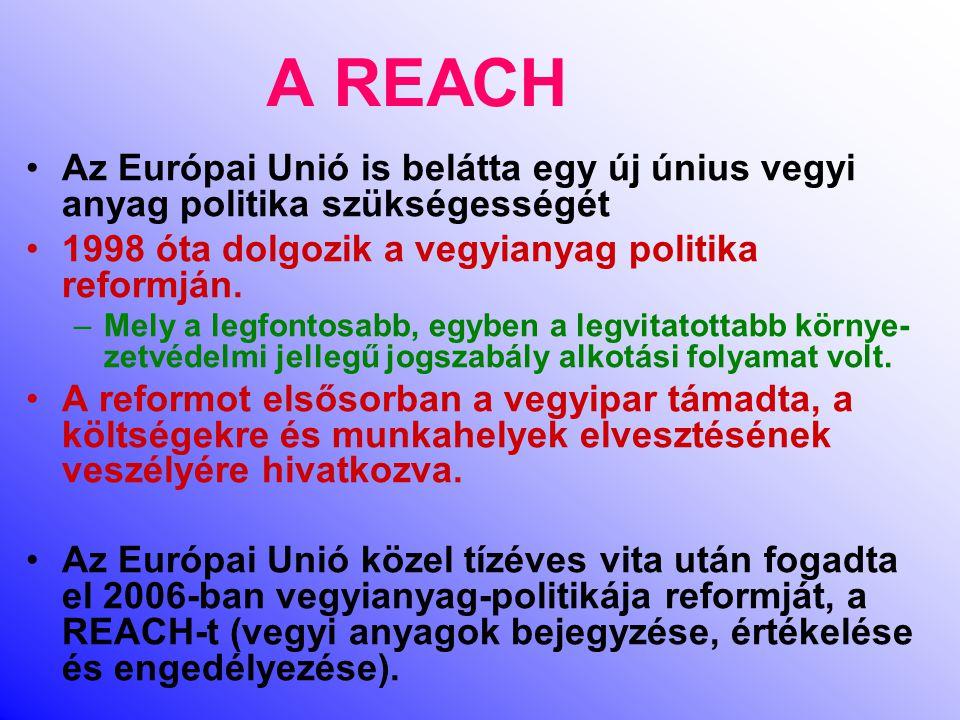 A REACH Az Európai Unió is belátta egy új únius vegyi anyag politika szükségességét. 1998 óta dolgozik a vegyianyag politika reformján.