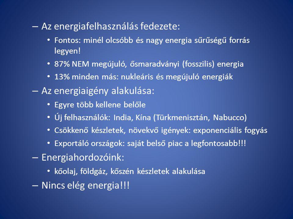 Az energiafelhasználás fedezete: