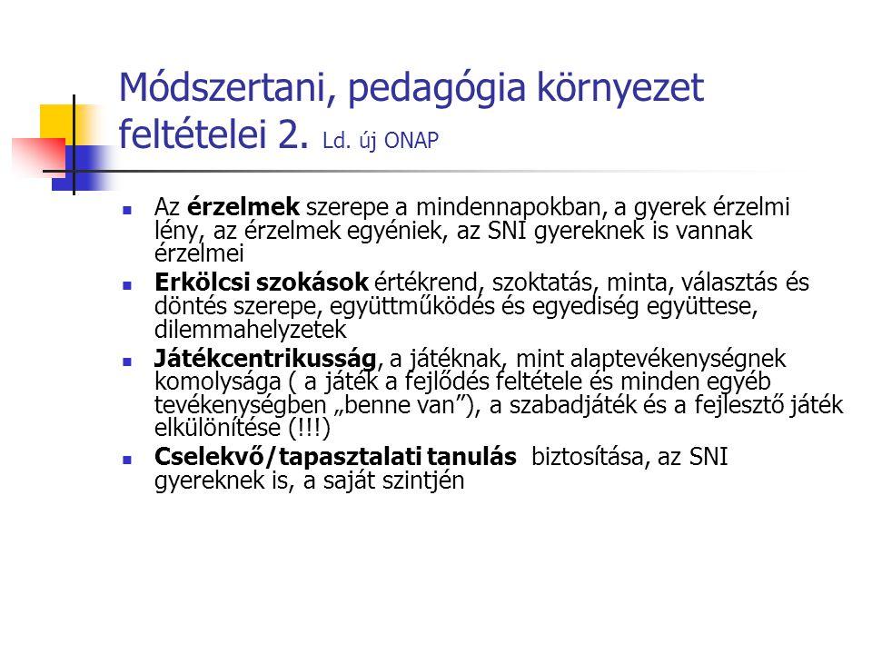 Módszertani, pedagógia környezet feltételei 2. Ld. új ONAP