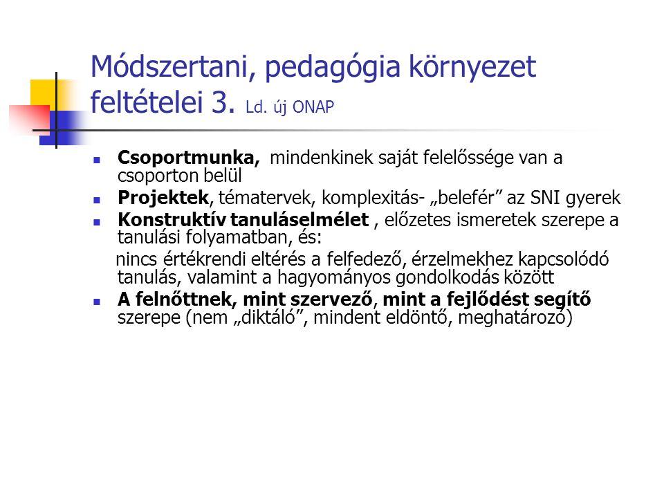 Módszertani, pedagógia környezet feltételei 3. Ld. új ONAP