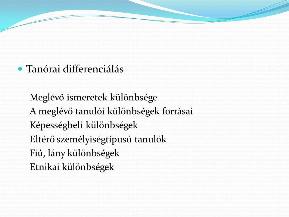 Tanórai differenciálás