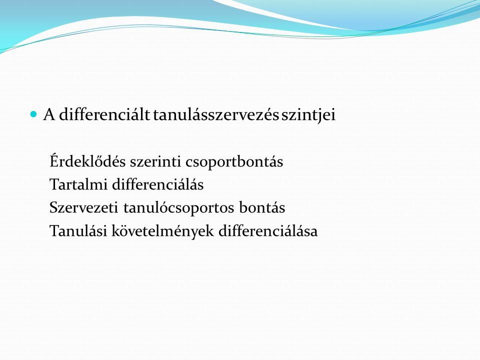 A differenciált tanulásszervezés szintjei