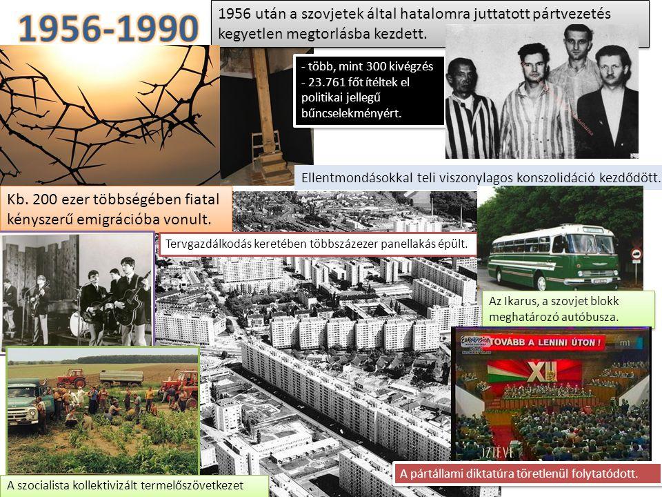 1956-1990 1956 után a szovjetek által hatalomra juttatott pártvezetés kegyetlen megtorlásba kezdett.