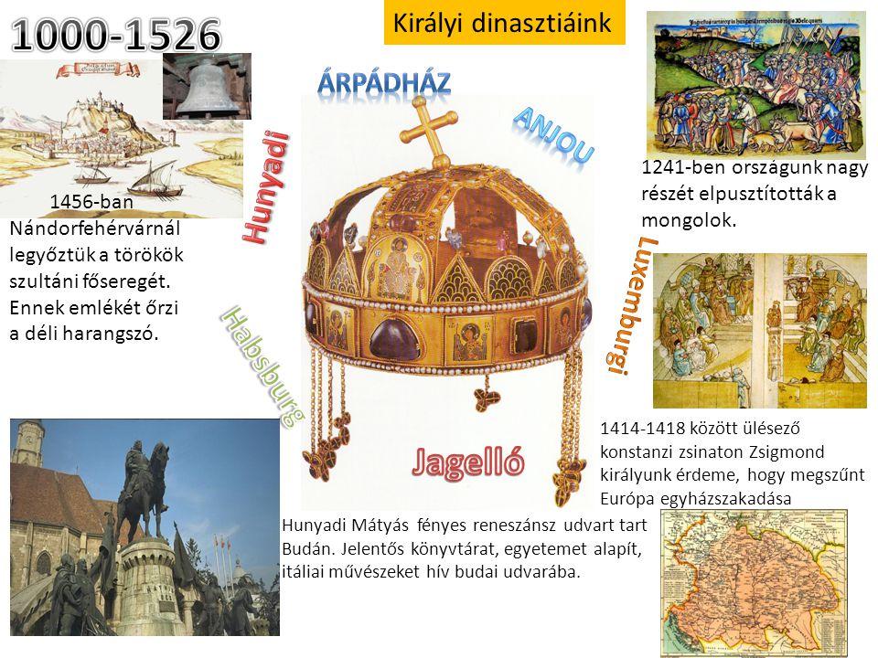 1000-1526 Jagelló Hunyadi Habsburg Királyi dinasztiáink Árpádház Anjou